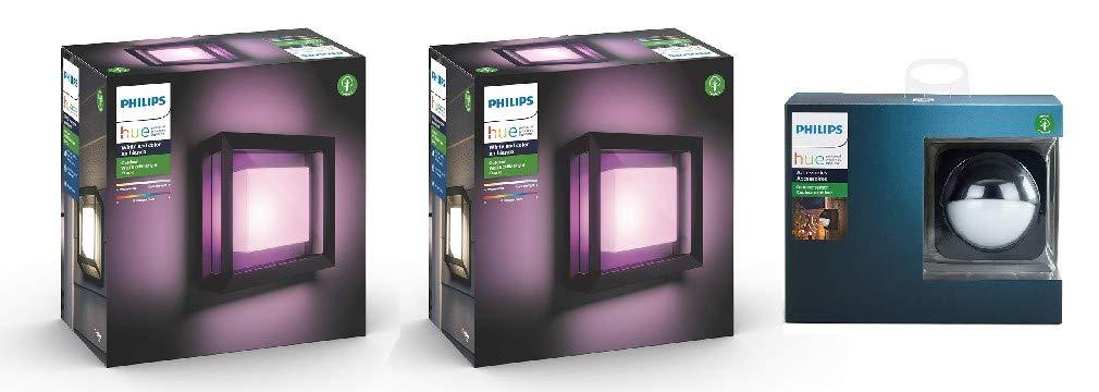 Philips Hue Econic White & Colour Ambiance LED Smart Garden 2x Wall Lights [Square Porch Light] + Outdoor Sensor Bundle £219.99 @ Amazon