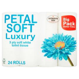 Petal Soft Luxury 3 Ply Toilet Tissue 24 Rolls - £5 (21p/roll) @ Iceland