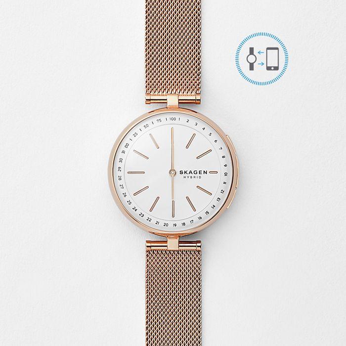 Hybrid Smartwatch - Signatur T-Bar Rose Gold-Tone Steel-Mesh £45 Skagen