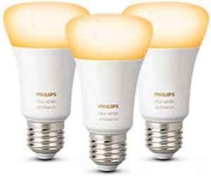 Philips Hue triple pack white ambiance E27, GU10, B22 only £39.99 at Amazon
