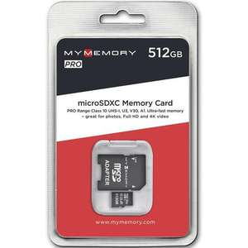 MyMemory 512GB V30 PRO Micro SD (SDXC) A1 UHS-1 U3 + Adapter - 100MB/s Plus Free 16Gb Kingston USB £62.99
