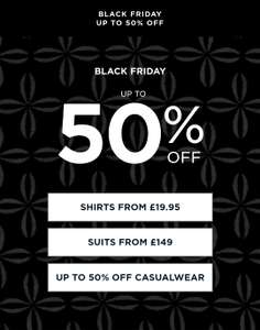 Black Friday upto 50% of @ TM Lewin - in-store and online.