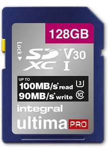 Integral ultimaPRO 128GB SD Card 4K High Speed Memory SDXC Up To 100MB/S R, 90 MB/s W, V30 UHS-I U3 for £12.99 Delivered @ Base
