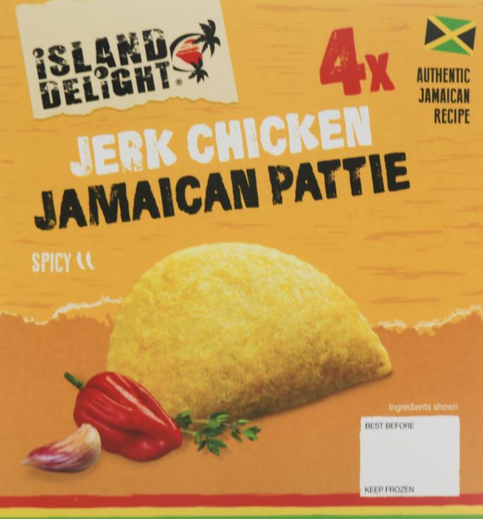 Island Delight Jerk Chicken Jamaican Patties 4 pack £1.00 Farmfoods