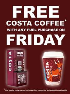 TEXACO Service Station offering FREE COSTA COFFEE - BLACK FRIDAY DEAL with any fuel pucrhase