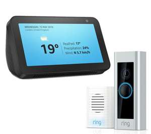 AMAZON Echo Show 5 (2019) with Video Doorbell Pro & Chime Bundle £112.43 instore @ Currys