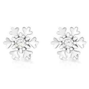 Brina Silver Sparkling Snowflake Stud Earrings (was £24.95) Now Just £7.49 + FREE Delivery with code @ John Greed Jewellery