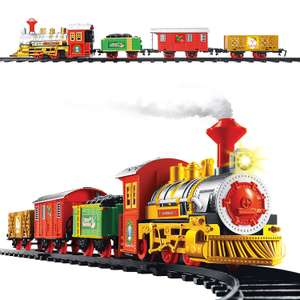 Christmas Workshop Xmas Train Set, 3 Carriages, Realistic Sounds, Headlights £11.57 / £15.08 Non Prime at Amazon
