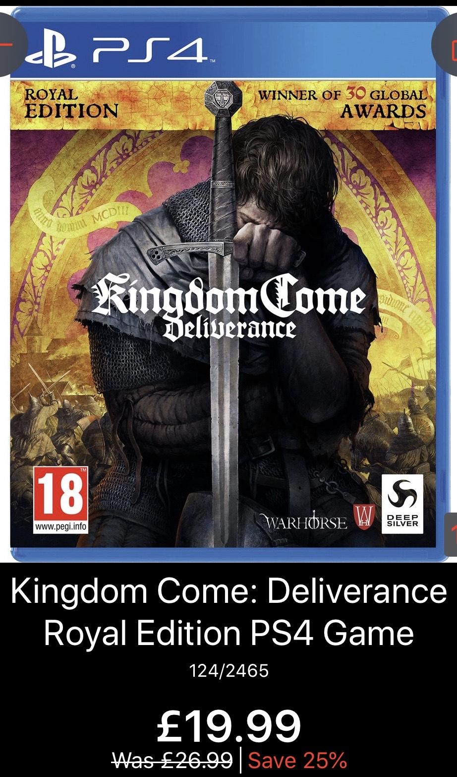 Kingdom Come: Deliverance Royal Edition PS4 Game £19.99 at Argos