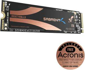 Sabrent 1TB Rocket Nvme PCIe 4.0 M.2 2280 Internal SSD Maximum Performance Solid State Drive (SB-ROCKET-NVMe4-1TB) £149.99 @ Amazon