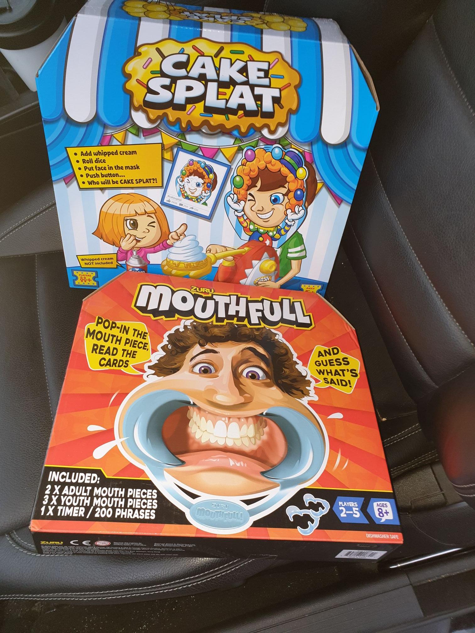 Family games cake splat and mouthfull £1 at B&M (Hitchin)