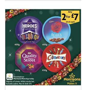 Chocolate tubs 2 for £7 Cadbury Heroes and Roses 600g, Quality Street & Celebrations 650g @ Morrisons