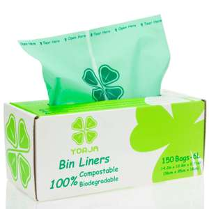 Compostable 6L Caddy Liners (150 bags) - £6.38 Amazon Prime Only - Sold by YORJA Direct and Fulfilled by Amazon.