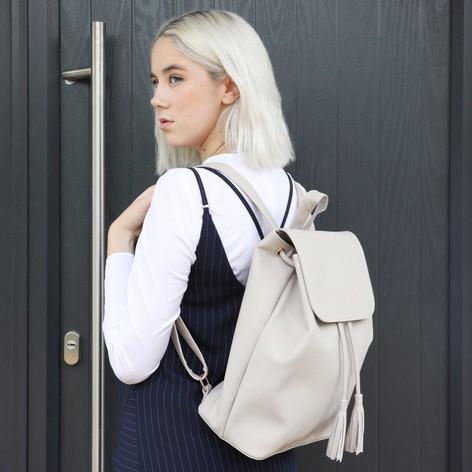 Fold Top Vegan Leather Backpack in Black / Stone Grey £8 for VIP Members at lisaangel