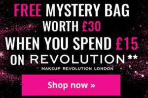 Free mystery bag when you spend £15 on Revolution, I Heart and Revolution Pro make-up, stacks with other offers @ Superdrug