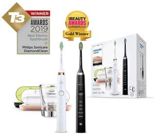 2 x Philips Sonicare DiamondClean Electric Toothbrushes Black & White HX9354/38 - with USB Charging Travel Case and Glass £169.99 @ Amazon