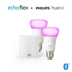 Echo flex + 2 Philips Hue Colour and white ambience bulbs E27 + B22 £59.99 @ Amazon (Also available in white for 29.99)
