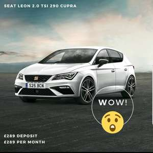 Brand new SEAT Leon Cupra 290 lease £289 deposit and £289 a month 36 months admin fee £199 8k mileage £10,892 @ Warrington Seat