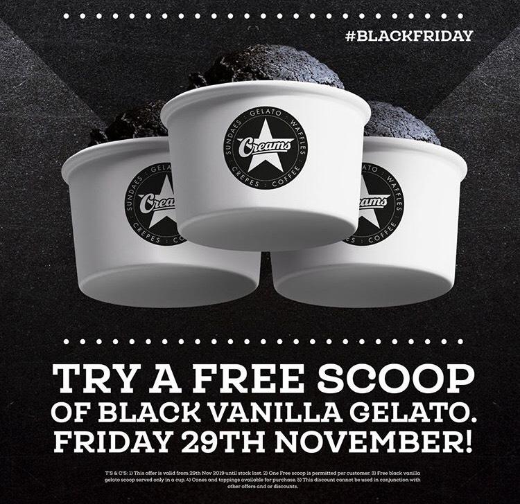 Free Black Gelato at creams on 29th November at Creams Cafe