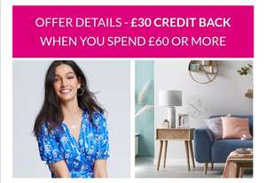 £30 back on £60+ spend on select existing Very credit accounts