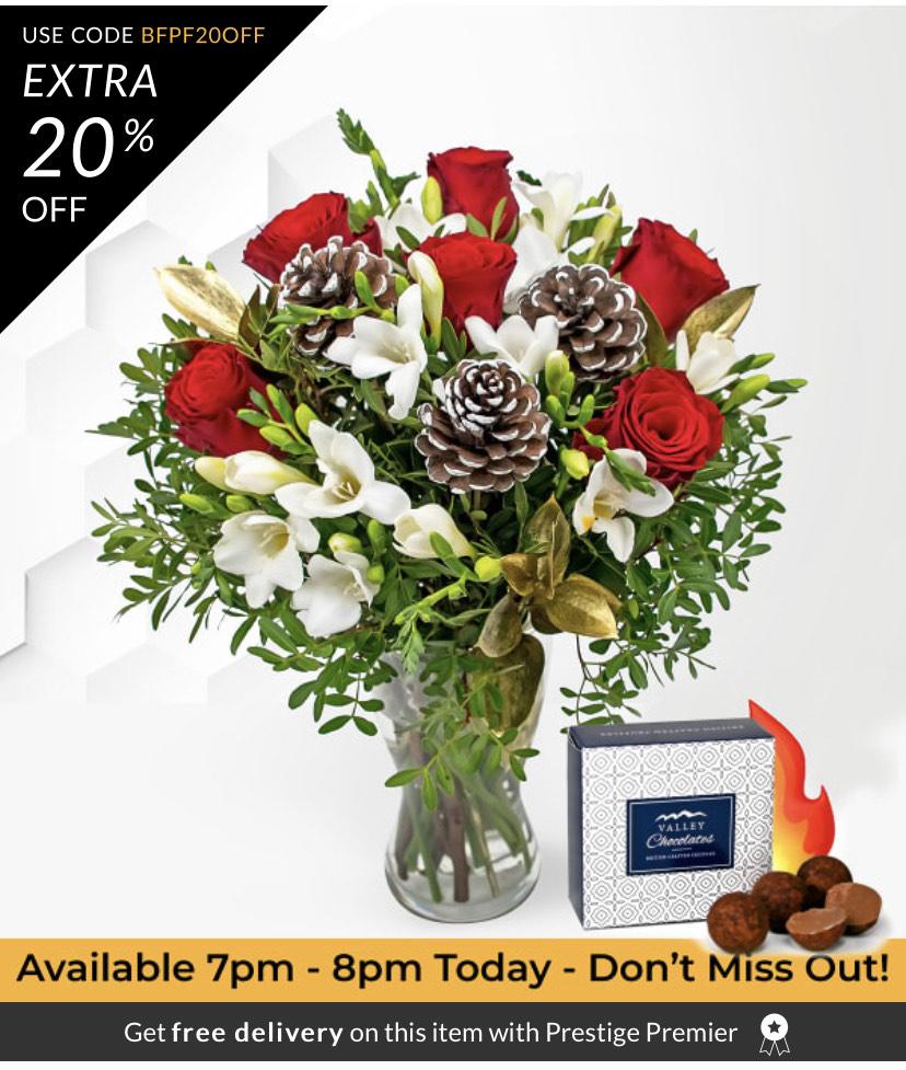 Prestige Flowers Festive Rose & Freesia Bouquet + Free Chocs £12.99 + £5.80 Postage