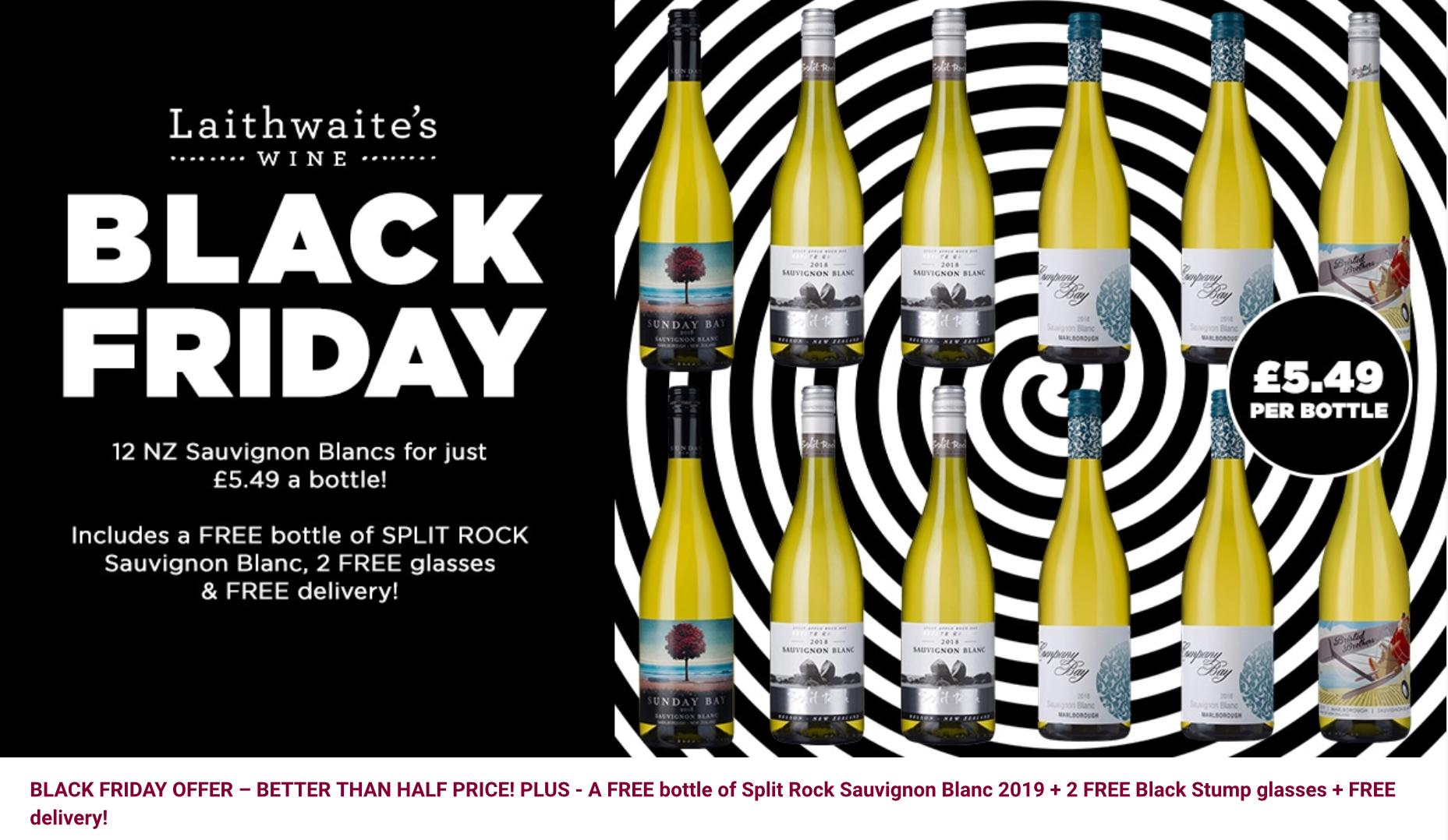 New Zealand Sauvignon Blancs Collection (13 bottles) normally: £147.88 Black Friday Offer Price: £65.88 @ Laithwaites