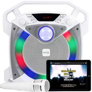 SingCube 12 Watt Rechargeable Bluetooth Karaoke Machine with Lights, Microphone and Voice Changer £22.99 @ Amazon