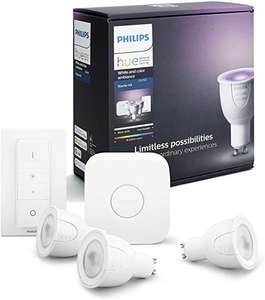 Philips Hue White and Colour Ambiance Starter Kit: Smart Bulb 3x Pack LED [GU10 Spot] Including Dimmer Switch + Bridge £89.99 @ Amazon