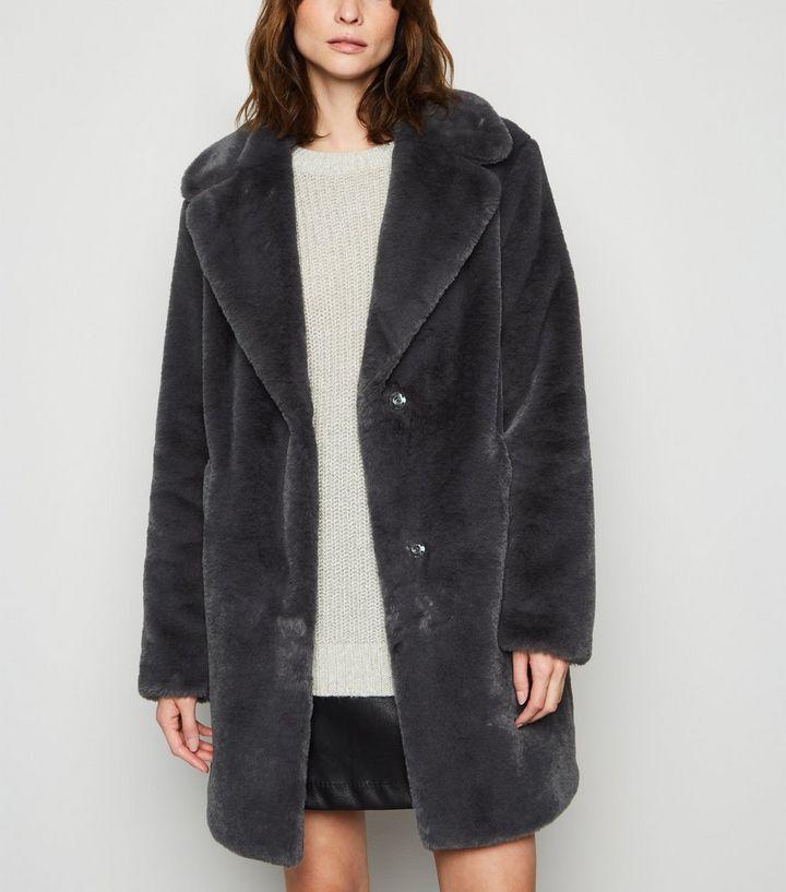 Tall Dark Grey Faux Fur Coat now £22 at New Look Shop