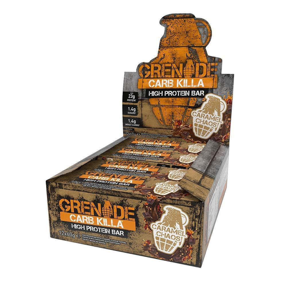 Grenade Carb Killa High Protein and Low Carb Bar, 12 x 60 g, Caramel Chaos £15 - Amazon Prime / £19.49 Non Prime