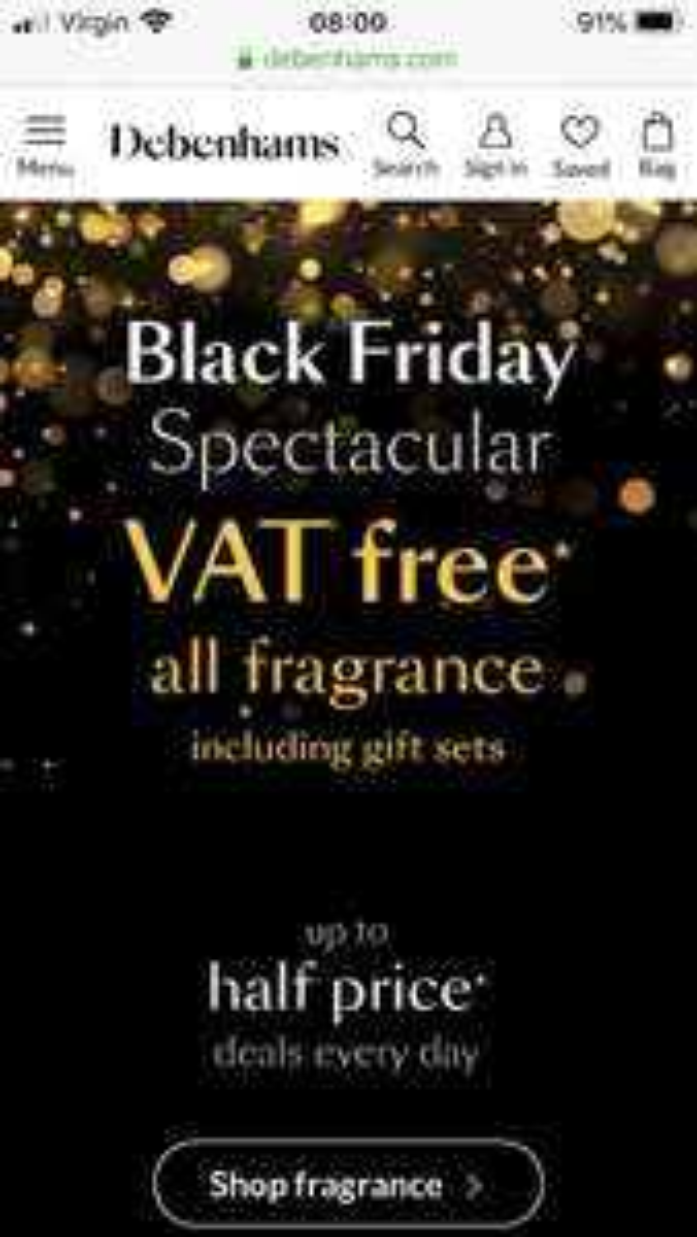 Vat free saving on fragrances at Debenhams
