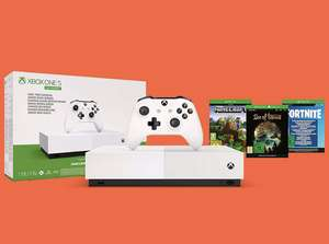 Xbox One S All-Digital Edition + Minecraft + Sea of Thieves + 2000 Fortnite V Bucks + Skins + £10 gift card - Amazon Treasure Truck £129.99