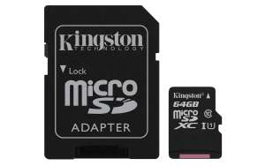 Kingston Canvas Select (SDCS/64GB) MicroSD Class10 UHS-I Speed Up to 80MB/s Read (SD Adapter Included) £6.93 Prime / £11.42 NonPrime Amazon
