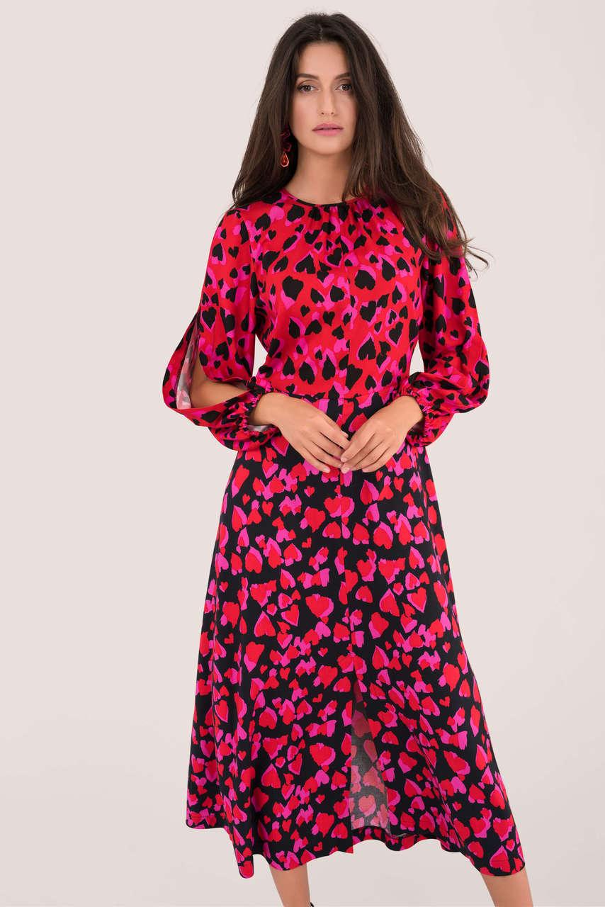 Red Heart Print Puff Sleeve Midi Dress £75 at Closet London