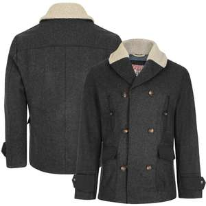 Men's Wool Mix Double Breasted Coat with Borg Collar in Charcoal for £25 delivered @ Tokyo Laundry