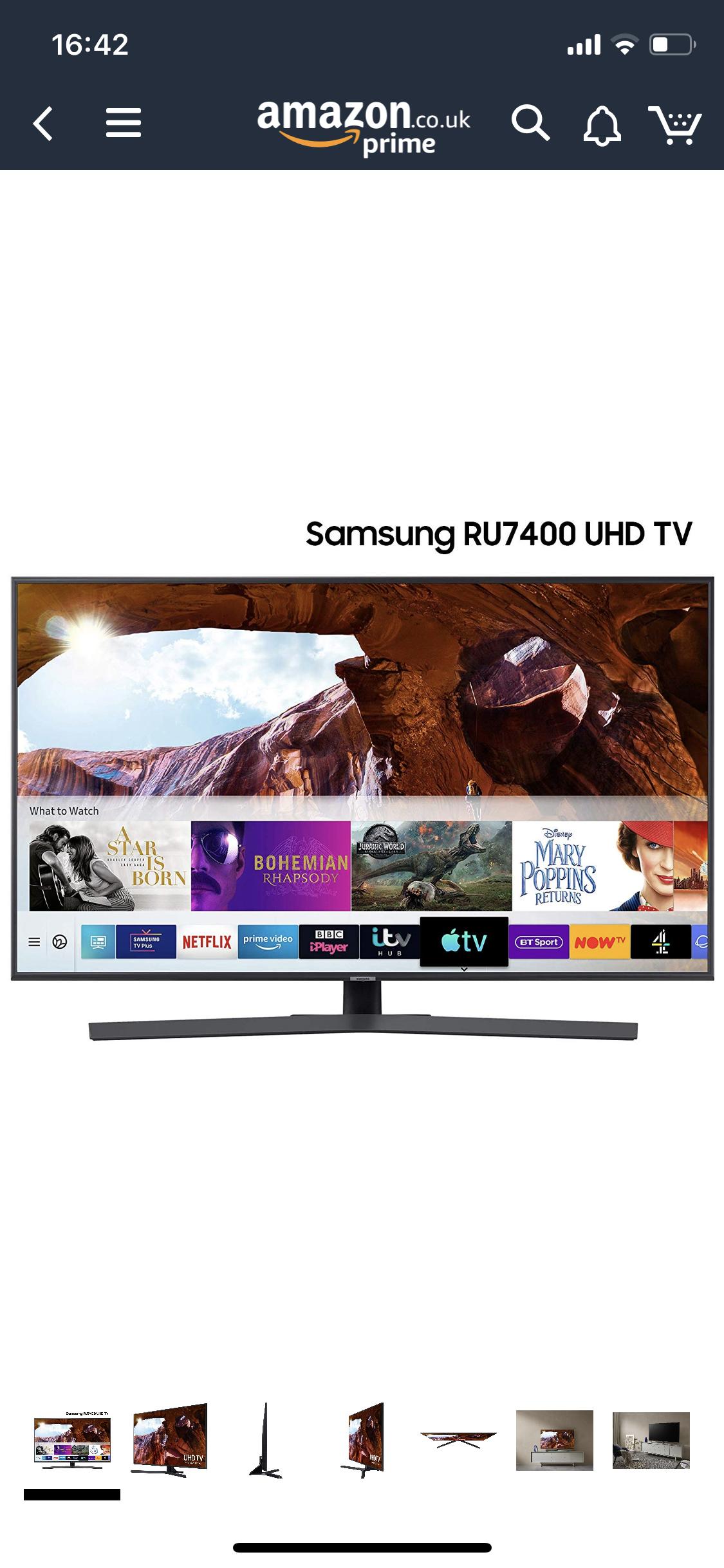 Samsung 55-inch RU7400 Dynamic Crystal Colour HDR Smart 4K TV £449 @ Amazon