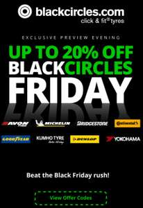 Up to 20% off selected tyres @ Black Circles