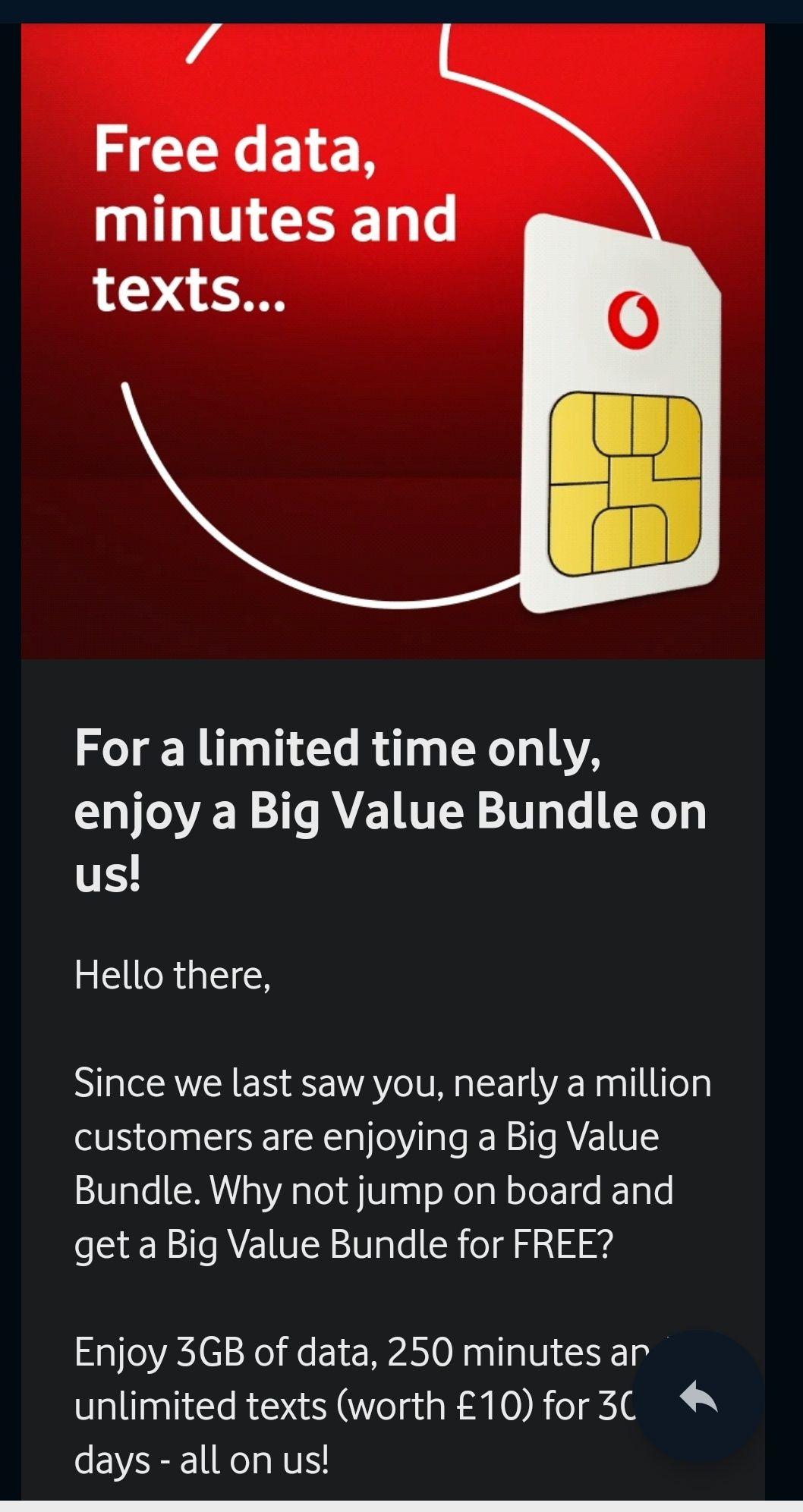 Vodafone - free Big Value bundle worth £10, existing customers