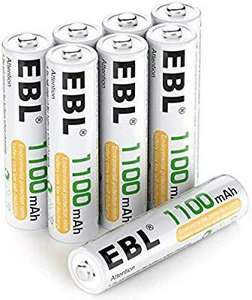 EBL AAA 1100mAh Ni-MH Rechargeable Batteries, 8 Pack AAA Batteries with Storage Cases - Sold by EBL Official / FBA - £7.12 Prime (+£4.49 NP)