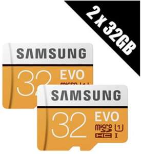 2 x Samsung Memory Evo 32GB Micro SDHC Card 95MB/s UHS-I U1 Class 10 with Adapter (Multi-pack of 2 cards and adapters) £8.50 at Base.com