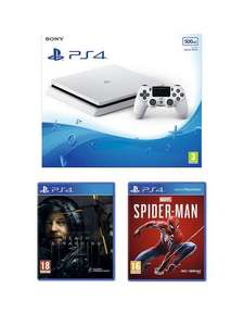 PS4 White 500GB Console with Death Stranding, Marvel's Spider-Man and additional Controller - £199.99 (£174.99 w/ Code, new Customer) @ Very