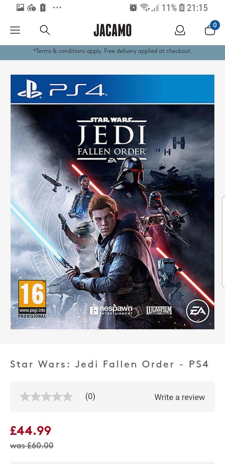 Star Wars Fallen Order PS4 & Xbox One - £44.99 @ Jacamo