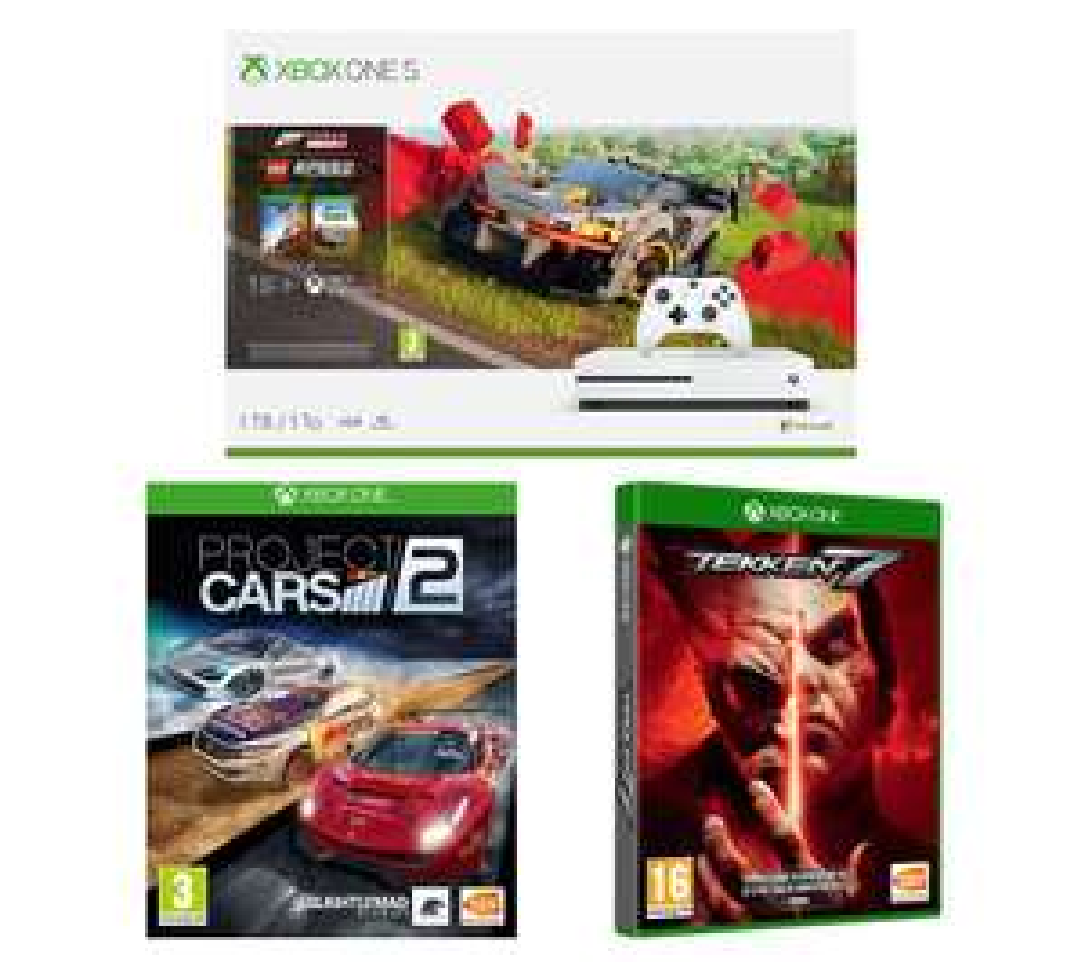 MICROSOFT Xbox One S, Forza Horizon 4, LEGO Speed Champions, Tekken 7 & Projects Cars 2 Bundle £179 @ Currys