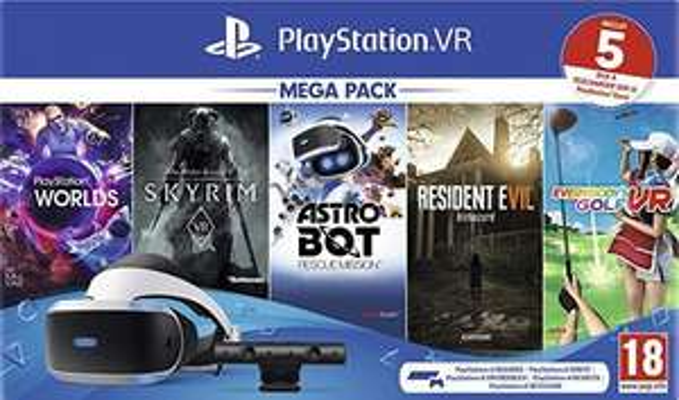PlayStation VR PSVR Mega Pack - Resident Evil 7, Astro Bot, Everybody's Golf, Skyrim and VR Worlds + Hidden Agenda £209.85 from ShopTo