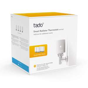 tado° Smart Radiator Thermostat (vertical mounting) - Quattro Pack - 4 pack £134.24 @ Amazon