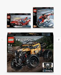 3 Sets of LEGO Technic 42099 4x4 X-Treme Off-Roader, 42092 Rescue Helicopter & 42089 2-in-1 Power Boat (bundle)