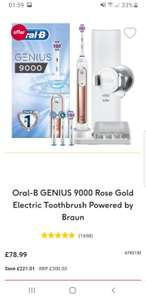 Oral-B GENIUS 9000 Rose Gold Electric Toothbrush Powered by Braun £78.99 Boots