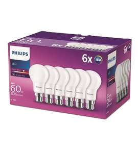 Philips LED B22 Frosted Light Bulbs, 8 W (60 W) - Warm White, Pack of 6 - £10.99 (Prime) / £15.48 (non Prime) at Amazon