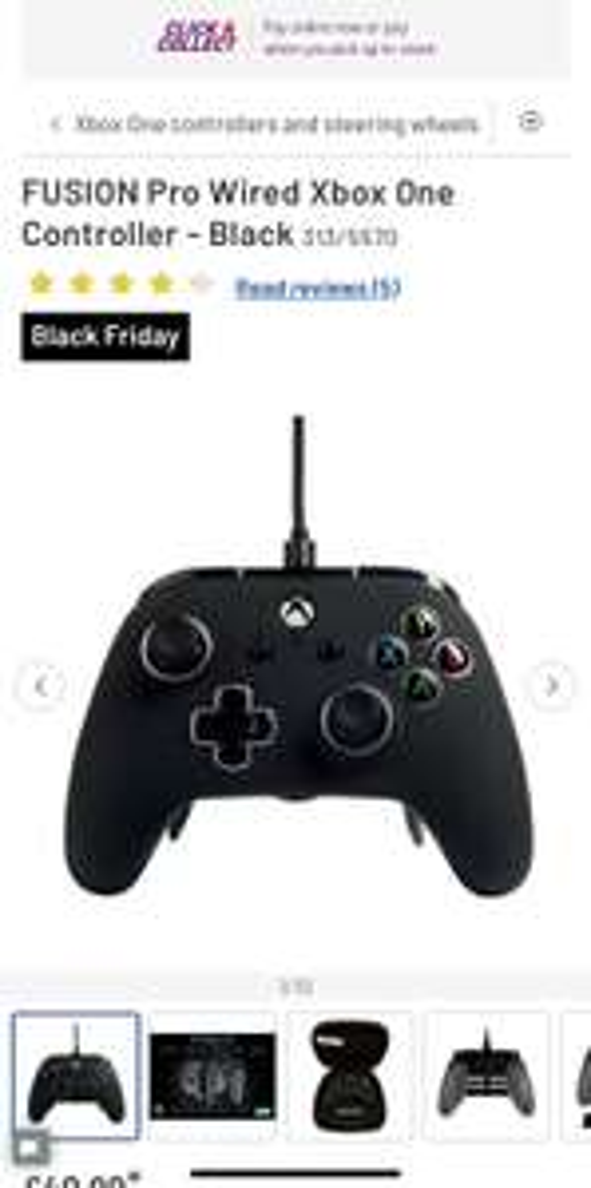 FUSION Pro Wired Xbox One Controller - Black - £49.99 @ Argos