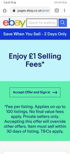 £1 eBay Selling Fee (Account Specific)